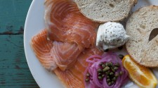 House Cured Fresh King Salmon Lox & Bagel plate