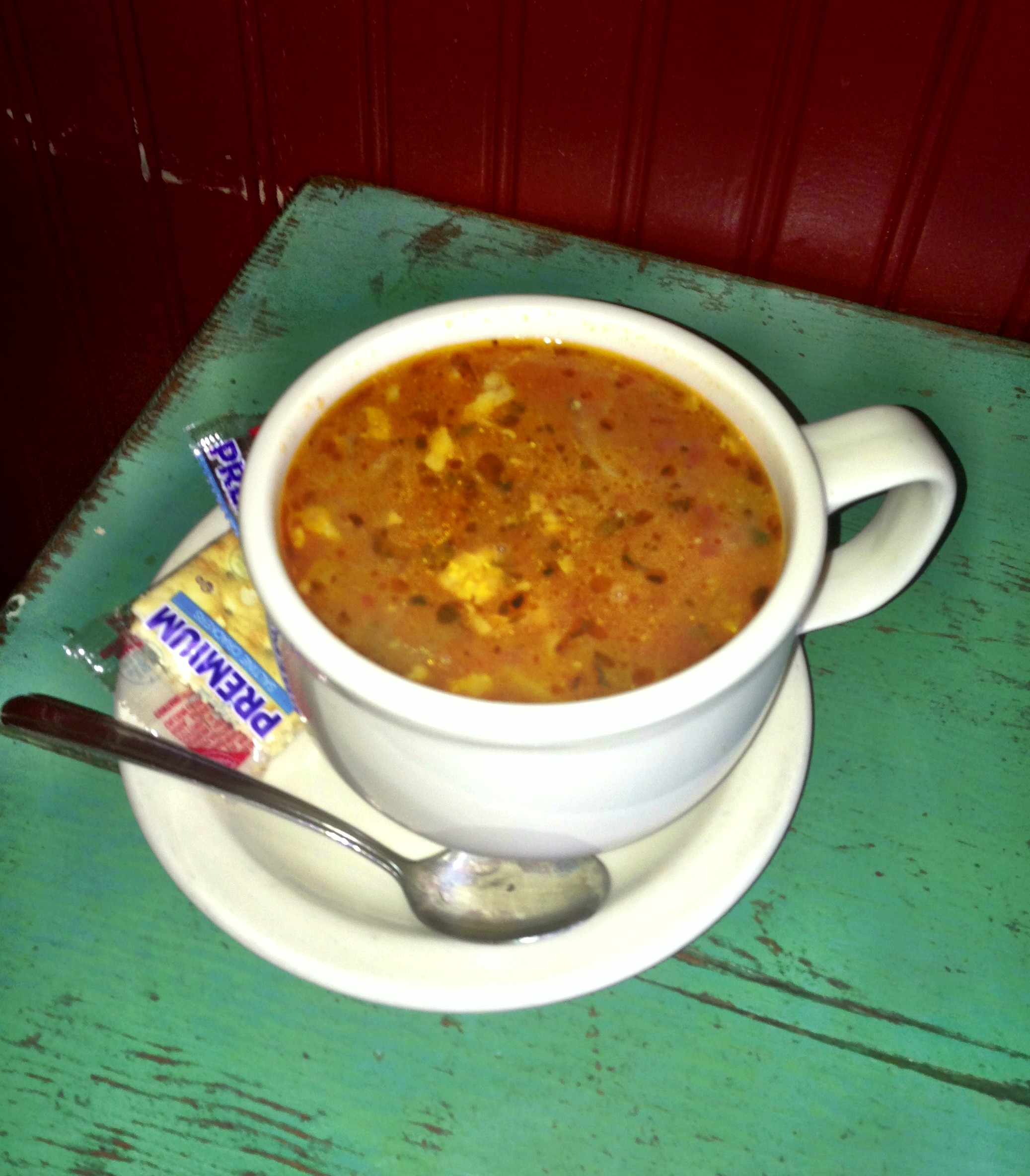 "Big Bowl of ""Papa Juan's Fresh Fish Soup"" on a blustery Friday afternoon (before we sold out!)"