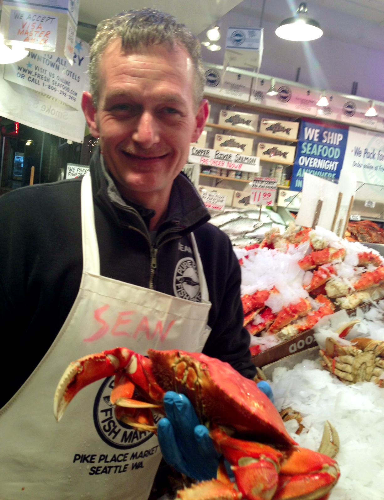 """Our fresh fish comes from two doors down at """"Pure Food Fish"""", beside us in the HEART of the Pike Place Market!"""