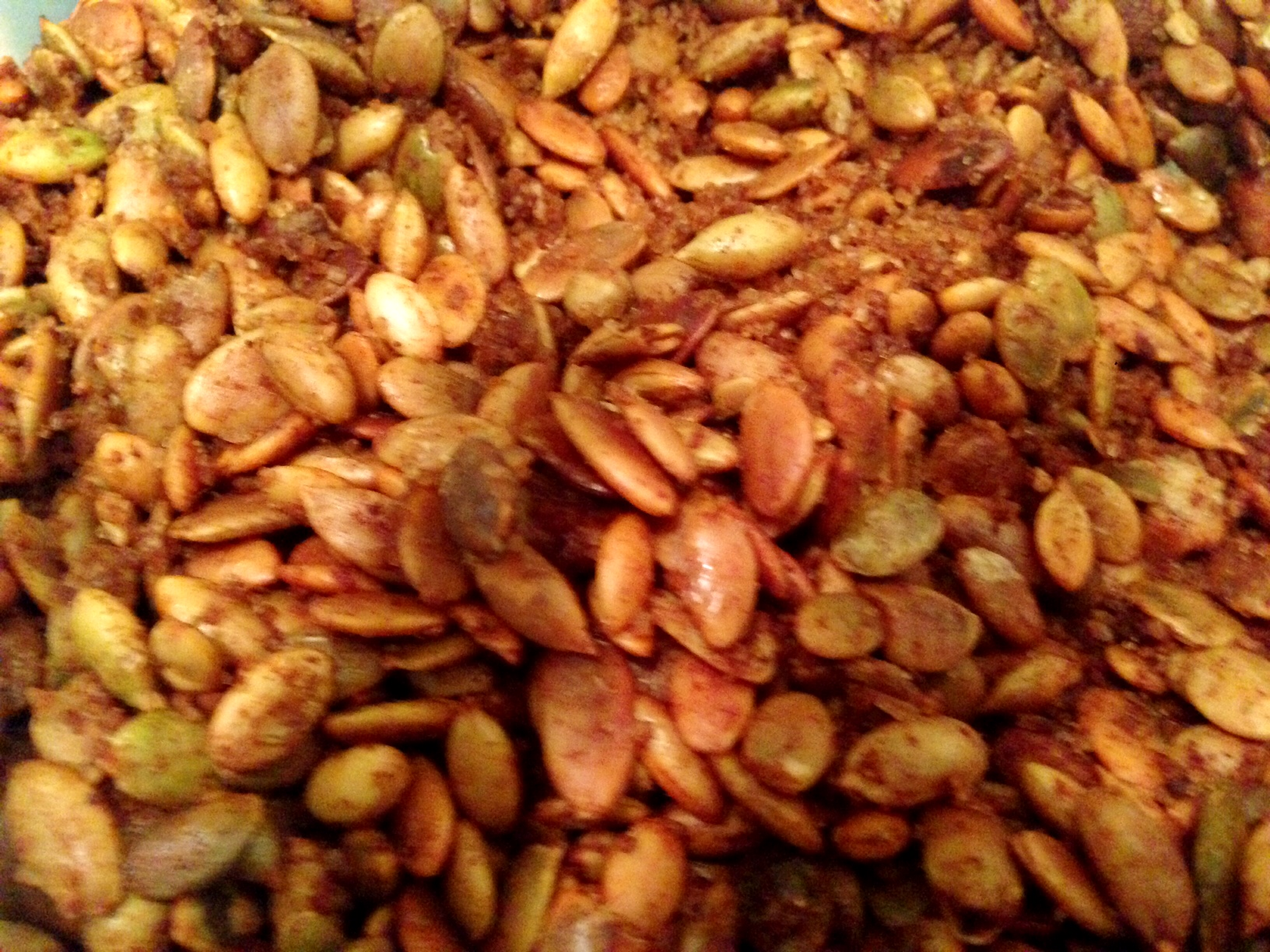 Fresh baked pumpkin seeds, spiced and tasty...