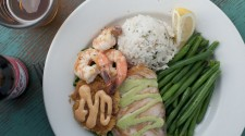 Mixed Grill Plate; Dungeness Crab Cake, Fresh King Salmon, Prawns...